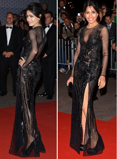 Freida Pinto, Frieda, Cannes, 2012, Versace, Indian, Bollywood, Fashion, Versace, Aishwarya